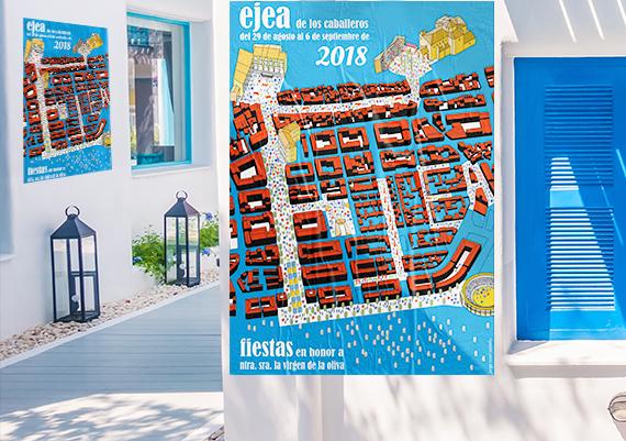 Carteles publicitarios, flyers y otro tipo de promoción para las fiestas del pueblo